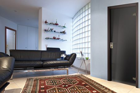Interior Door Milano-400 Black Glass. Photo