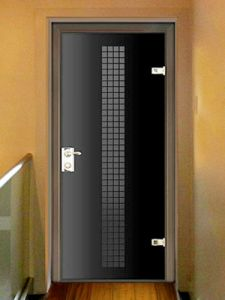 Interior Door Milano-400W Black Glass. Photo