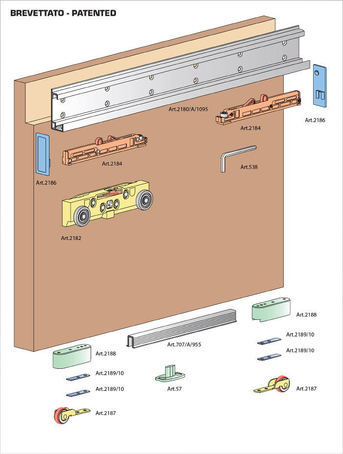 Concealed Sliding System With Dual Shock Absorbing Stop