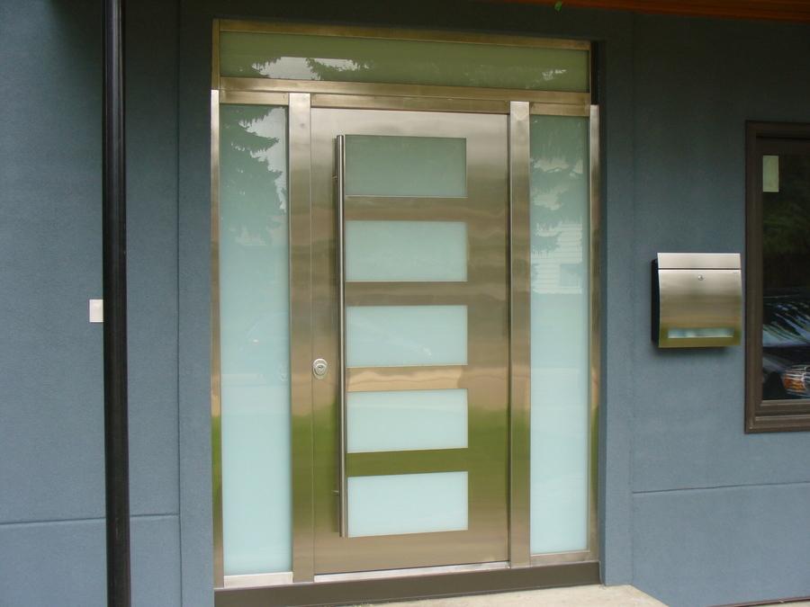 Exterior Door Milano-14 Stainless Steel. Photo & Gallery of modern exterior doors by Milano Doors. Milano-14 ...