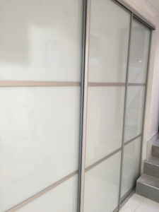 Bi-fold Door BFD-12 Silver Metalic /White Obscure Glass Double Bi-Fold Door. Photo