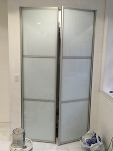Bi-fold Door BFD-13  White Obscure Glass Pivot Double Doors. (also available as Single Door). Photo