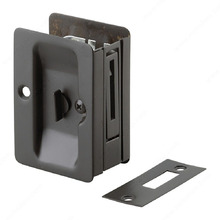 Rectangular Pocket Door Pull with Privacy Lock Black