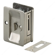 Rectangular Pocket Door Pull with Privacy Lock Brushed Nickel