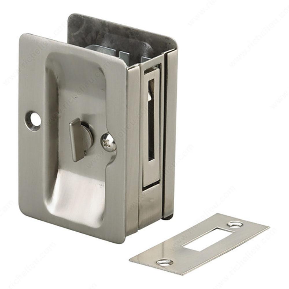 Rectangular Pocket Door Pull With Privacy Lock Brushed Nickel
